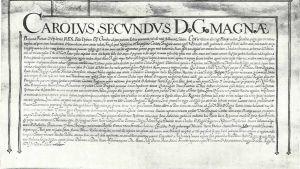 Bild på det gamla dokumentet som låter fiskare från Brygge i Belgien fiska i brittiska vatten.