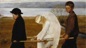 En bild av Hugo Simbergs tavla Den sårade ängeln som föreställer två pojkar som bär en bår där det sitter en sårad ängel.