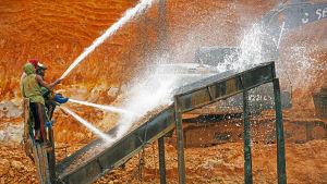 laittoman kultakaivoksen työntekijät huuhtovat maa-aineesta kultaa vesisuihkuilla Amazonin sademetsässä.