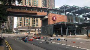 Spår av demonstrationer i Hongkong.
