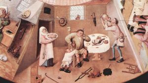 """Dödssynden frosseri, detalj från målningen """"De sju dödssynderna"""" av Hieronymus Bosch."""