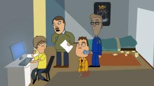 Kuva animaatiosarjasta Pasila, jossa tietokoneella oleva teini, jota ovat tulleet jututtamaan poliisit Neponen ja Pöysti.