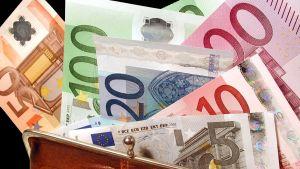 En läderbörs med olika eurosedlar.