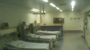 Sjukhussängar vid nyinvigda Kristinamedi