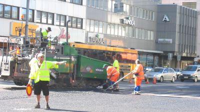 Vägarbete i Åbo