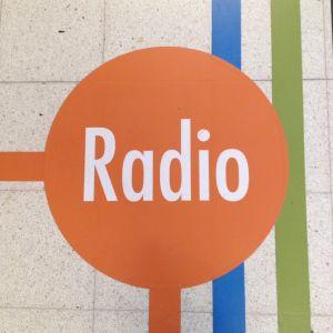Tohlopin Mediapoliissa lattikuviokoriste, viivoja ja oranssi pallo jossa valkoisella sana Radio
