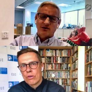 Carl Bildt och Alexander Stubb på skärmmdumpar från webbinarium.