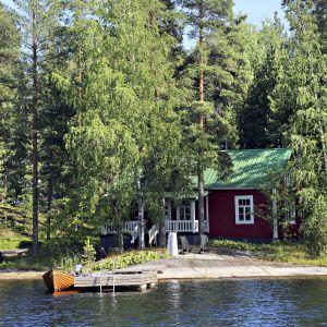 Kesämökki, laituri ja soutuvene Saimaalla.