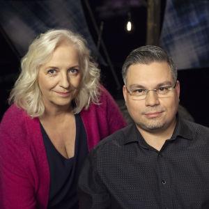 Toimittaja Maarit Tastula ja kirjailija Tommi Kinnunen