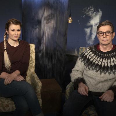 Kilpapyöräilijä Lotta Henttala ja isänsä Jyrki Lepistö Mediapoliksen studiolla Anne Flinkkilän vieraina.