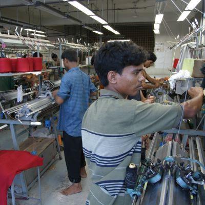 Textilarbetare, i fabrik,