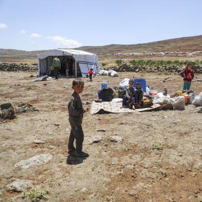 Flyktingar från Daraa vid Syriens sydvästra gräns den 21 juni.