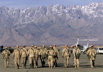 Amerikanska soldater i Bagram, Afghanistan 15.1.2002