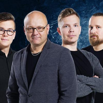 Kuvassa selostajat Riku Salminen, Tapio Suominen, Niki Juusela ja Matti Härkönen.