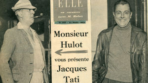 Elle-lehden kansi jossa Jacques tati ja monsieur Hulot. Kuva dokumenttielokuvasta Suurenmoinen Tati (2009).