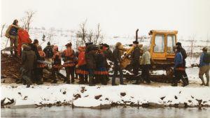 Protester mot dammanläggningen i Alta på 1970-talet.