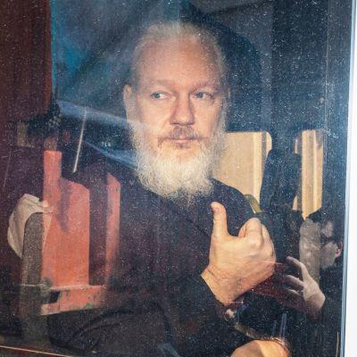 En skäggig Julian Assange fotograferad genom ett bilfönster.