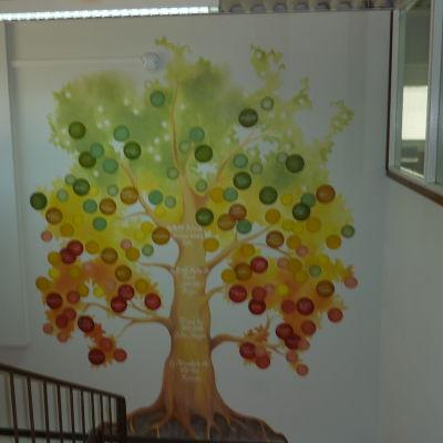 Mirkas produkter syns i ett träd som välkomnar gästerna i Karis.