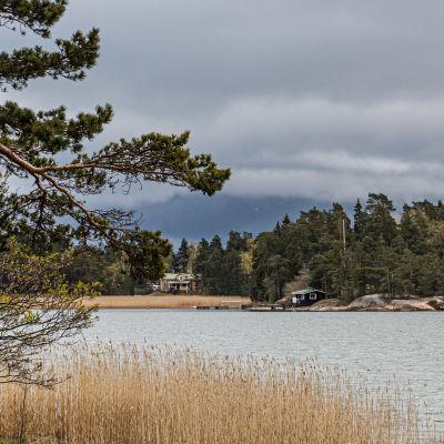Merimaisemaa Espossa, vastarannalla kesämökki.