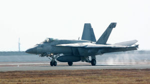 Ett F/A-18 Hornet-flygplan.