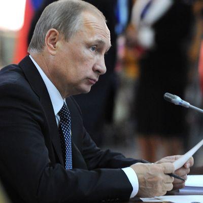 Rysslands president Vladimir Putin i Dusjanbe den 12 september 2014.