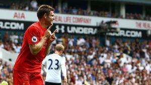 James Milner firar sitt straffmål mot Tottenham.