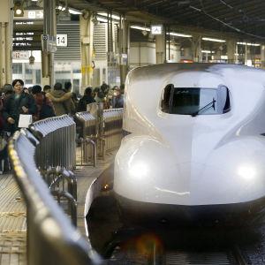 Shinkansen-luotijuna tokiolaisella asemalla.