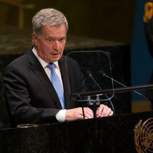 President Sauli Niinistö håller sitt tal vid FN:s generalförsamling i New York.