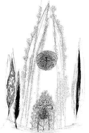 Tapio Wirkkalan luonnos Campanile -lasitaideteoksesta