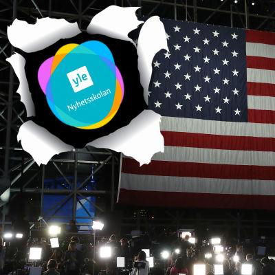 Nyhetsskolans logo på den amerikanska flaggan.