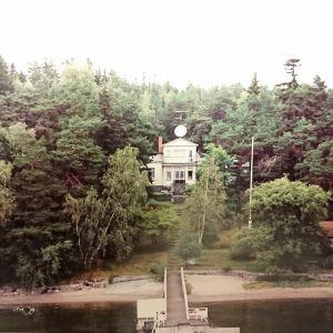 Wilhelm Högstens villa sedd från stranden vid tiden för mordet.