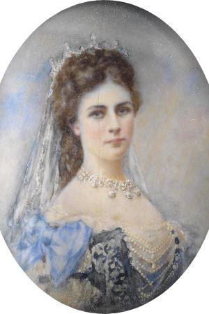 Porträttminiatyr av Elisabeth av Bayern.