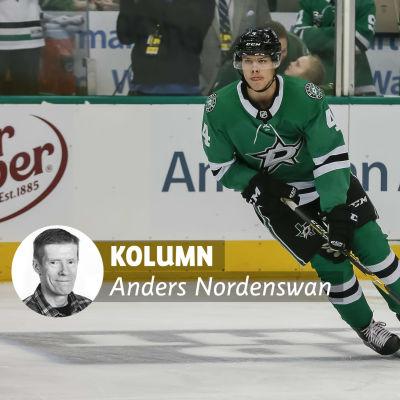 Miro Heiskanen i Dallas speltröja i NHL, med Anders Nordenswans kolumnvinjett.