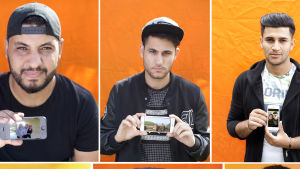 En bild består av sex fotografier av män som håller i en mobiltelefon. På mobilskärmen syns ett fotografi.