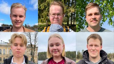 Ansikten på sex unga personer.