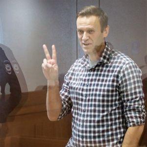 Aleksei Navalnyi seisoo lasiseinäisessä häkissä oikeussalissa ja näyttää hymyillen etu- ja keskisormella voitonmerkkiä.Hänellä on ruudullinen paita. Lasiin heijastuu salissa seisova univormupukuinen mies.