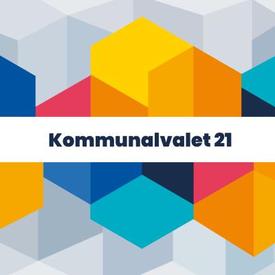 Bild med texten Kommunalvalet 2021 på färggranna staplar
