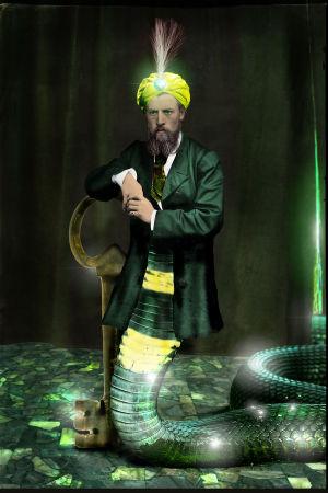 Bild av man som är till hälften orm.