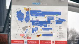 Karta över Sappis område vid fabriken i Gerknäs i Lojo.