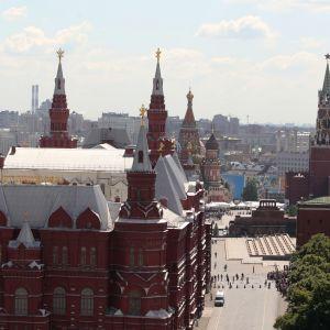 Vy över Kreml och röda torget i Moskva