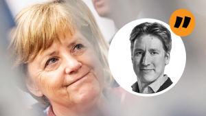 Analysbild på Rikhard Husu (Brysselkorrespondent). Till vänster om Riku ser vi Angela Merkel.