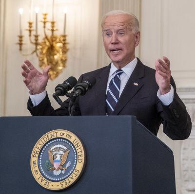 USA:s president Joe Biden håller tal.