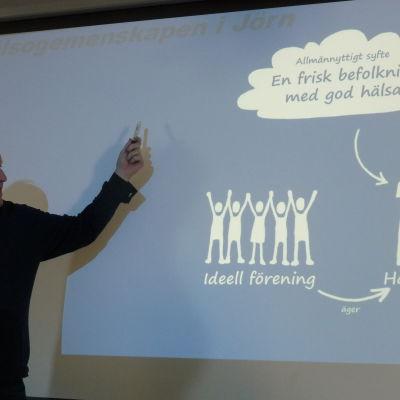 Håkan Björk förevisar allmännyttig affärsmodell