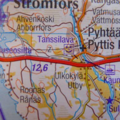 Karta över E18 vid gränsen mellan Nyland och Kymmenedalen
