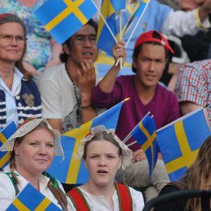 Svenskar sitter i läktare med Sverigeflaggor och firar nationaldag.