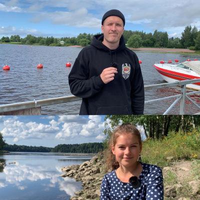 Köpi Kallio, Nenna-Emilia Lainio, Saimi Seilo ja Leevi Lepistö oman kotipaikkakuntansa maisemissa.
