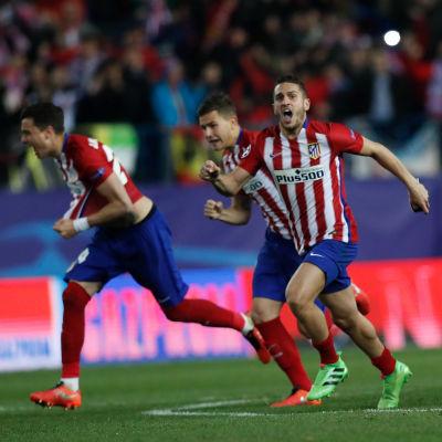 Atlético Madrid jublar efter straffsegern över PSV Eindhoven.
