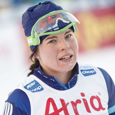 Krista Pärmäkoski efter målgång.