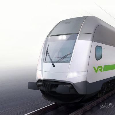 Tågvagn med förarhytt och passageraravdelning