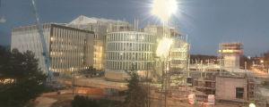 Työmaakamerakuva Metropolian kampuksen työmaalle.